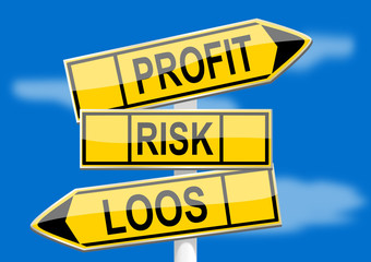 Signpost with direction indicators profit, risk, loss