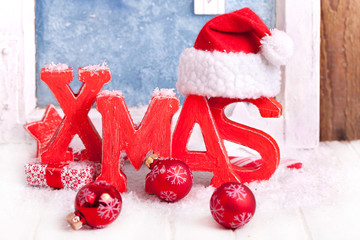 Weihnachtsdeko X MAS rot und Schnee