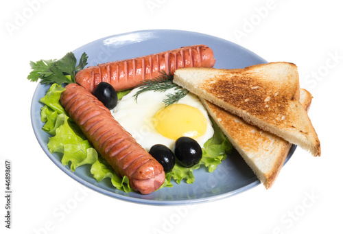 breakfast with sausages, toast and egg