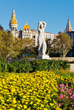 Public Statue and Flowers at Placa Catalunya, Barcelona poster