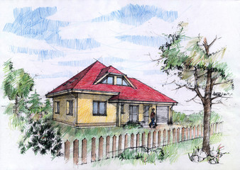 Illustration of house with crayons. Architectural concept.