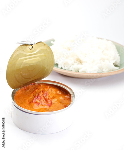 Red curry in can with rice