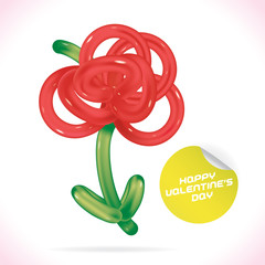 Balloon Happy Valentines Day Greeting Card with Flower, Symbol