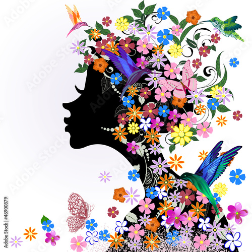 Foto op Canvas Bloemen vrouw Floral hairstyle, girl and butterfly bird