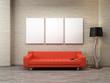 3 geteilte Leinwand blank oranges Sofa Stehlampe Loft rustikal