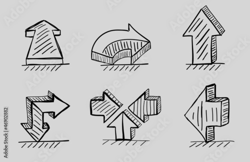 Hand drawn 3d arrows vector black icon set