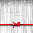 Christmas wooden card with red ribbon