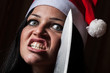 Bad Woman with Santa Hat and Knife