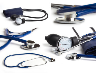 blue stethoscope on white background collage