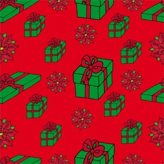 Seamless background Xmas gifts