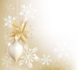 Gold snowflake and Christmas bauble background