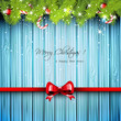 Christmas wooden greeting card