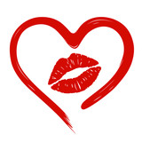 heart drawn in lipstick and lip imprint poster