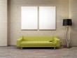 grünes Vintage Sofa Zigelwand Stehlampe 2 leinwände