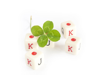 dice game with four leaf clover