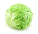 Ripe Green Cabbage Isolated on White