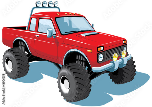 Foto op Canvas Cartoon cars Vector isolated monster truck