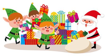クリスマス サンタクロース エルフ プレゼントの準備