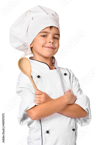 girl chef with wooden spoon