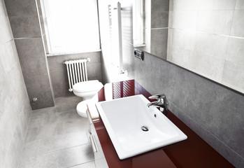 Red bathroom high contrast