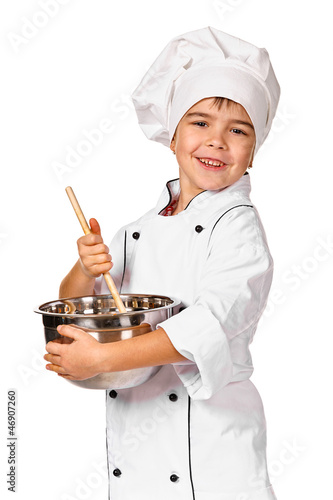 Little chef preparing healthy meal