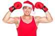 Christmas fitness boxer wearing santa hat