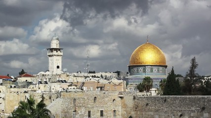 Clouds over the wailing wall and mosque of Al-aqsa