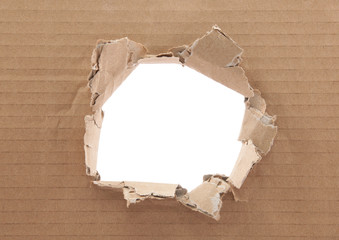 Ripped hole in cardboard on white background