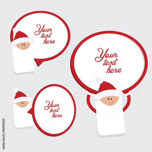 Set of 3 red and white christmas labels with Santa Claus