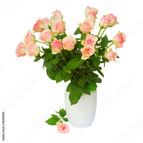 bouquet of pink roses   in vase isolated on white background