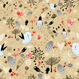 winter texture with birds and trees