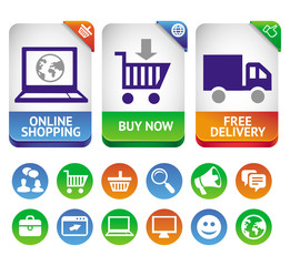 Vector design elements for internet shopping