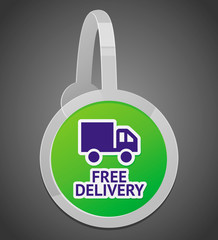 Vector sign with free delivery icon