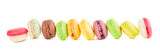 row of multicolored macaroons