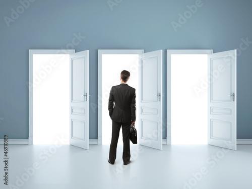 man in blue room