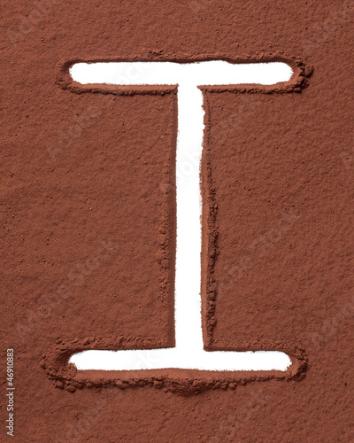 Letter I made of cocoa powder