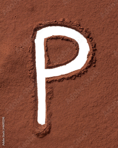 Letter P made of cocoa powder