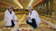 Vet and Farmer working on Chicken Farm