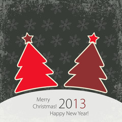 Greeting card with two red Christmas Tree