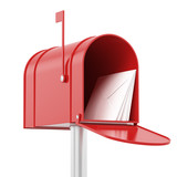 Fototapety Red red mailbox with mails