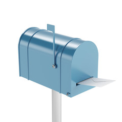 Blue mailbox with mail