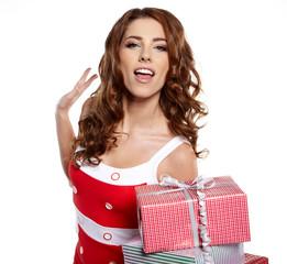 Christmas gift. Woman giving / holding christmas present.