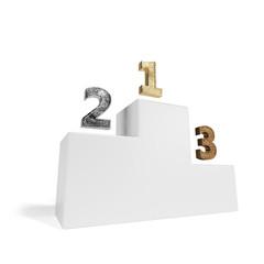 white winning podium