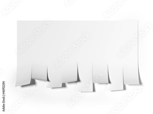 Blank advertisement with cut slips.