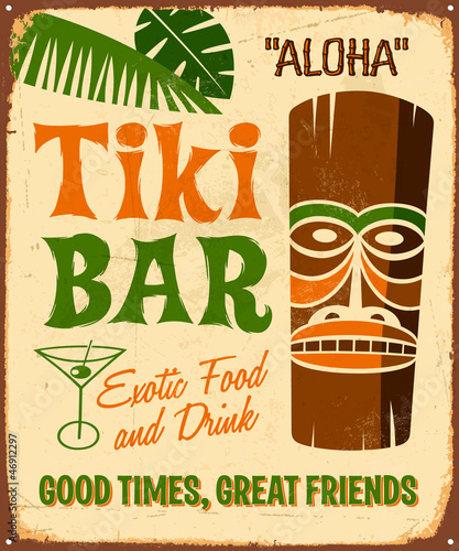Vintage Metal Sign Retro Tiki Bar