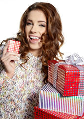 Beautiful brunette woman with a gift boxes