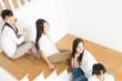 Beautiful young asian women relaxing in the room