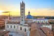 Siena sunset panoramic view. Cathedral Duomo landmark. Tuscany,