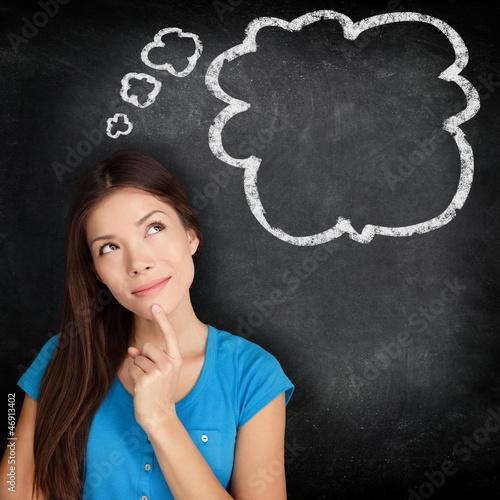 Woman thinking blackboard