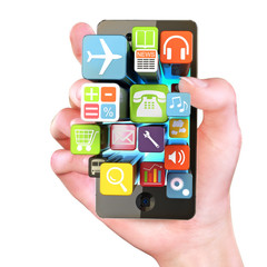 Hand holding Smartphone apps